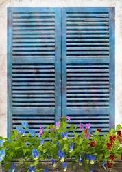 - Mavi Pencere Ahşap Tablo-1