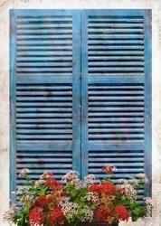 - Mavi Pencere Ahşap Tablo-2