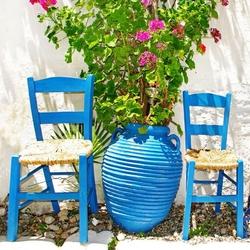 - Mavi Sandalye ve Saksı 2 Kanvas Tablo