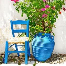 - Mavi Sandalye ve Saksı Kanvas Tablo