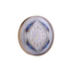 Mavi Tüy Desenli Gold Saat çap 80cm - Thumbnail