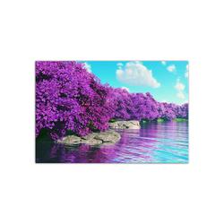 - Mor Ağaçlar ve Göl Kanvas Tablo