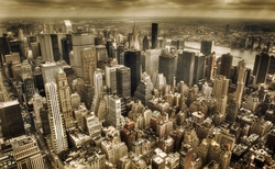 - New York Sepya Kanvas Tablo