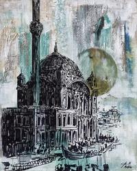 - Ortaköy Cami Kartpostal Kabartmalı Tablo