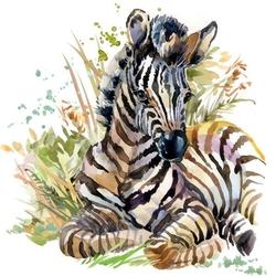 - Otlar İçinde Zebra Kanvas Tablo