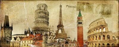 Paris Kartpostal Kanvas Tablo