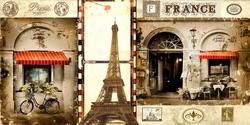 - Paris'te Café Kartpostal Kanvas Tablo