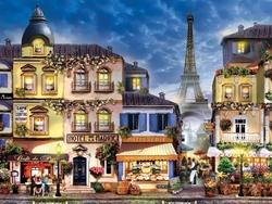 - Paris'te Dükkanlar Nostaljik Kabartmalı Tablo