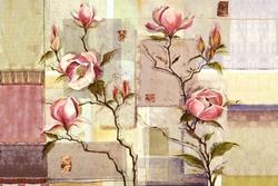 - Pembe Çiçek Kanvas Tablo