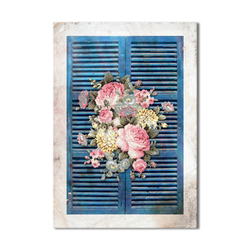 - Pembe Çiçekli Pencere Ahşap Tablo