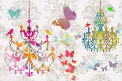 - Renkli Avizeler ve Kelebek Kanvas Tablo
