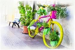 - Renkli Bisiklet Kanvas Tablo