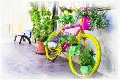 Renkli Bisiklet Kanvas Tablo