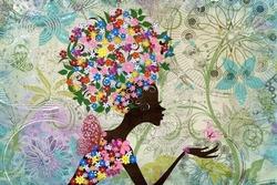 - Renkli Çiçek Saçlı Afrikalı Kadın Kabartmalı Tablo