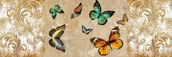 - Renkli Kelebekler Kabartmalı Tablo