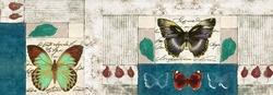 - Renkli Kelebekler Nostaljik Yazılı Kanvas Tablo