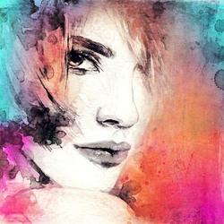 - Renkli Zemin Kadın Çizim Kanvas Tablo