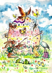 - Resim Yapan Hayvanlar Kanvas Tablo
