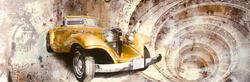 - Sarı Antik Araba Kabartmalı Tablo