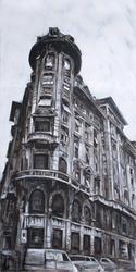 - Şehirde Eski Bina Siyah Beyaz Kabartmalı Tablo