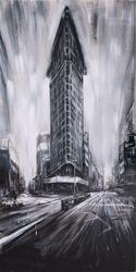 - Şehirde Gökdelen Siyah Beyaz Kabartmalı Tablo