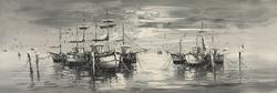 - Siyah Beyaz Gemiler Kanvas Tablo