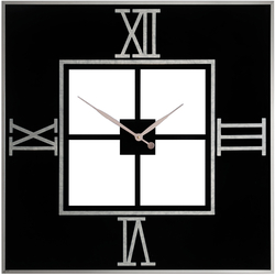 - Siyah Gümüş Kare Saat 83x83cm