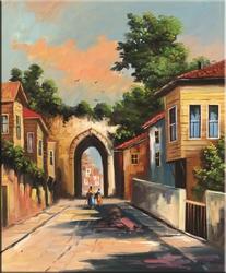 - Sokak Manzarası Kabartmalı Tablo