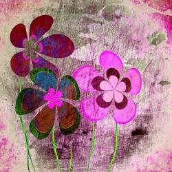 - Soyut Pembe Çiçekler Kanvas Tablo