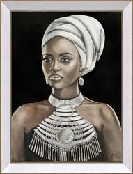 - Beyaz Sarıklı Kadın Tablo 85x110cm