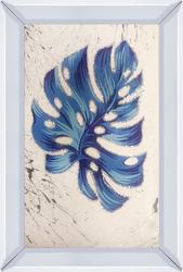 - İşlemeli Mavi Yaprak Tablo 40x60cm