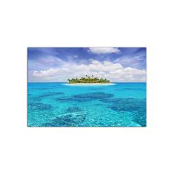 - Turkuaz Denizde Bir Ada Kanvas Tablo