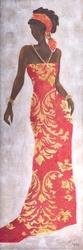 - Turuncu Elbiseli Afrikalı Kadın 2 Kabartmalı Tablo