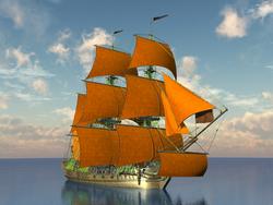 - Turuncu Yelkenli Gemi Kanvas Tablo