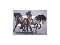 - Atlar Yağlıboya Tablo