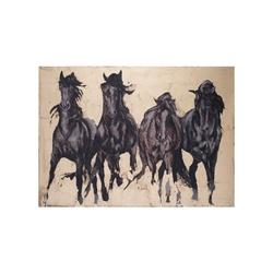 - Koşan atlar yağlıboya dokulu tablo