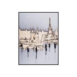 - Gold Varaklı Şehir ve İnsanlar Kabartmalı Tablo