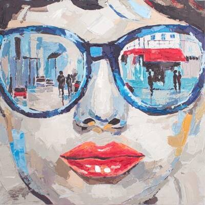 Mavi Gözlüklü Kadın Yağlıboya Dokulu Tablo