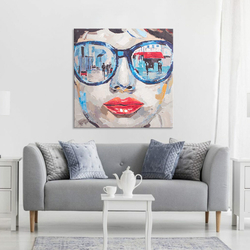 - Mavi Gözlüklü Kadın Yağlıboya Dokulu Tablo
