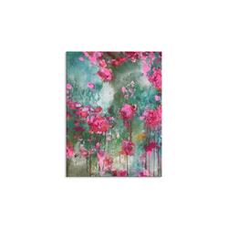 - Pembe Çiçekler Yağlıboya Dokulu Tablo