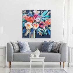 - Mavi Yapraklı Çiçek Yağlıboya Dokulu Tablo