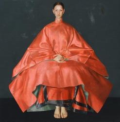 Kırmızı Elbiseli Yağlıboya Dokulu Tablo - Thumbnail