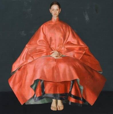 Kırmızı Elbiseli Yağlıboya Dokulu Tablo