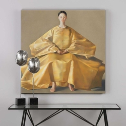 - Sarı Elbiseli Kadın Yağlıboya Dokulu Tablo
