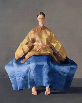 Sarı Mavi Elbiseli Kadın Yağlıboya Dokulu Tablo