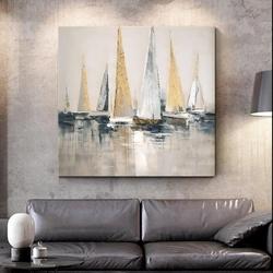 - Varaklı Yelkenler Yağlıboya Dokulu Tablo