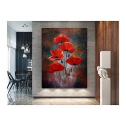 - Kırmızı Çiçekler Yağlıboya Dokulu Tablo