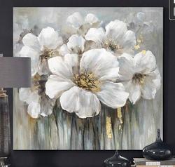 - Varaklı Çiçek Yağlıboya Dokulu Tablo