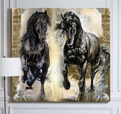 - Varaklı Atlar Yağlıboya Dokulu Tablo
