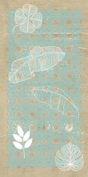 - Yaprak Detaylı Mavi Örüntü Kanvas Tablo